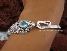 Sterling Silver & Blue Topaz Snake Bangle SBB-263-DG - $38.07