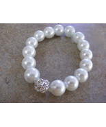 WHITE GLASS  PEARLS AND RHINESTONE STUDDED SPACER BEADED STRETCH BRACELET - $8.59