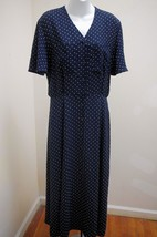 Liz Claiborne 10 Shirt Dress Blue White Polkado... - $23.51