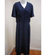 Liz Claiborne 10 Shirt Dress Blue White Polkadot Tall Flounce Slv Wrinkl... - $23.51