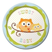 "Happi Tree Blue Boy Baby Shower Sweet Baby Owl Paper 8 Ct 7"" Dessert Plates - $4.39"
