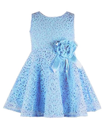 Sleeveless Lace Pleated Dress with Flower - $8.99