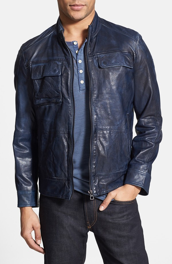 MENu0026#39;S LEATHER JACKETBLUE COLOR JACKET BIKER LEATHER ...