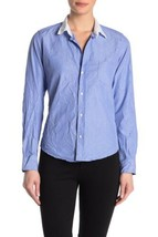 NEW FRANK & EILEEN Womens XS BARRY Blue Crinkle Italian Cotton Button Do... - $83.22