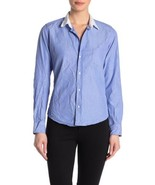 NEW FRANK & EILEEN Womens XS BARRY Blue Crinkle Italian Cotton Button Do... - $83.22