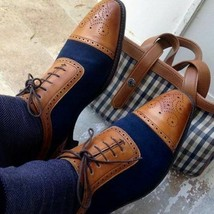 Handmade Men's Brown and Blue Brogues Two Tone Lace Up Dress/Formal Oxford Shoes image 3