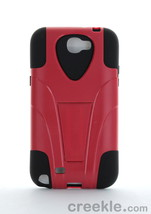 Amzer Double Layer Hybrid Case w/ Kickstand for Samsung Galaxy Note II Black/Red - $11.99
