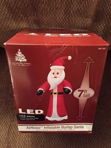 New Christmas 7 Foot LED Lit Inflatable Burlap Old World Santa Yard Deco... - €55,13 EUR
