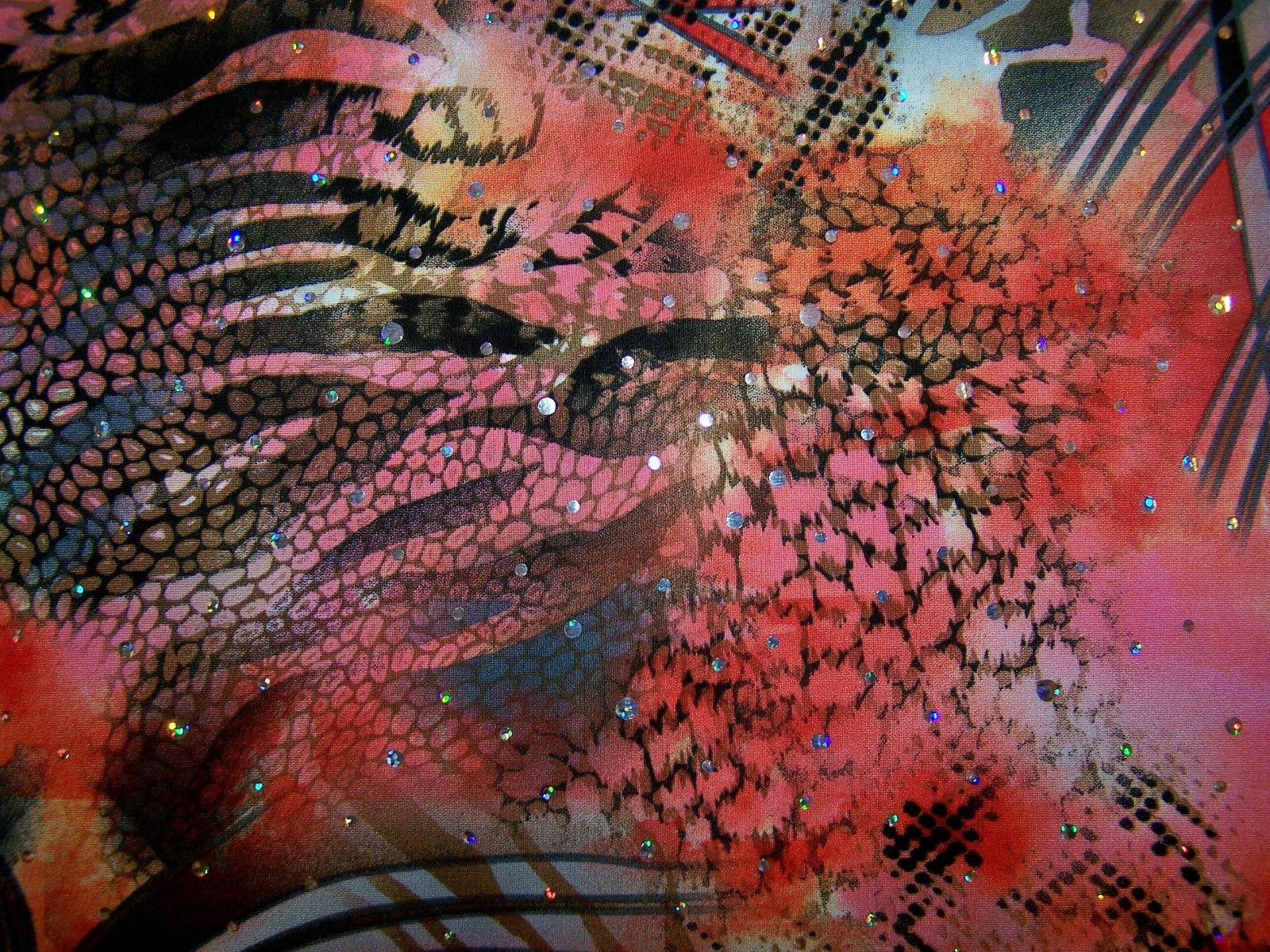 Red Swirly Animal Print Hologram Sequin Dot Lycra Stretch Fabric 1 Yard 18 Inch
