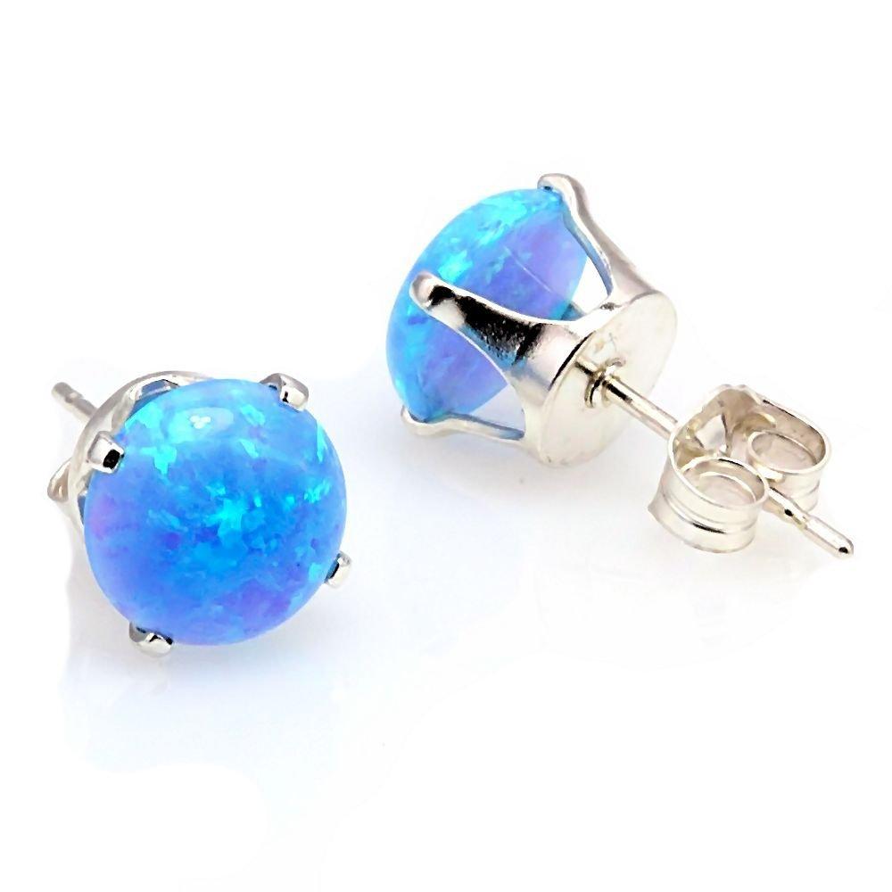 3.2ct Light Blue Opal Cab Crown Set Stud Earrings 8mm 925 Sterling Silver