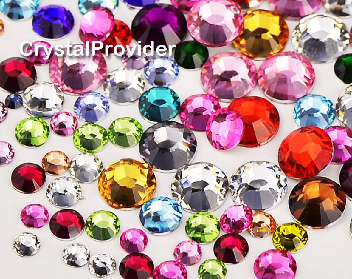300Pc Swarovski Flatback Crystal Non Hotfix Mix Color Mix Size SS8/10 Rhinestone
