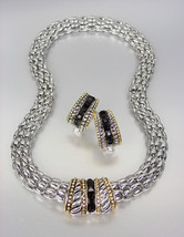 CLASSIC Designer Style Black Onyx CZ Crystals Silver Mesh Necklace Earri... - $36.99