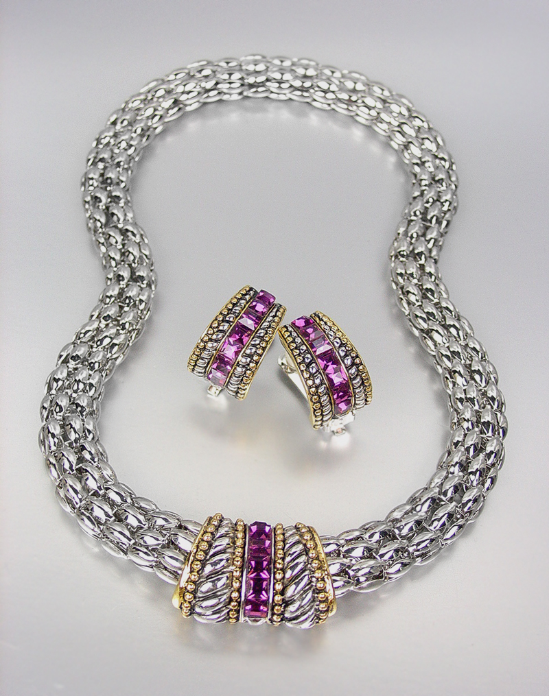 Primary image for CLASSIC Designer Purple Amethyst CZ Crystals Silver Mesh Necklace Earrings Set