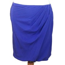 Josie Natori womens silk skirt Tavalu draped periwinkle blue above knee ... - $23.51