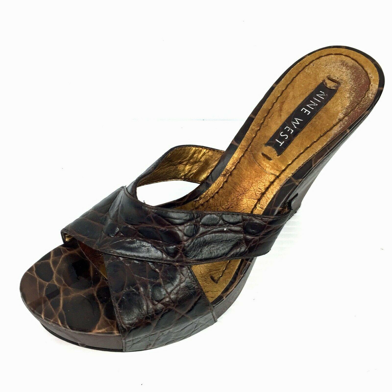 """NINE WEST """"Delton"""" Brown Embossed Leather Wooden Heel Sandals Size 7 Med"""