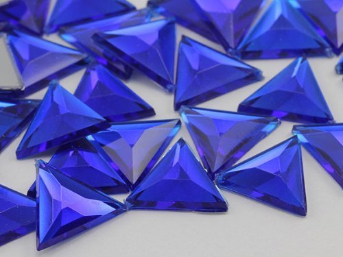 13mm Sapphire Dark .NAB01 Flat Back Triangle Acrylic Jewels High Quality Pro ...