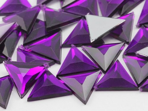 13mm Amethyst .NAT02 Flat Back Triangle Acrylic Jewels High Quality Pro Grade...