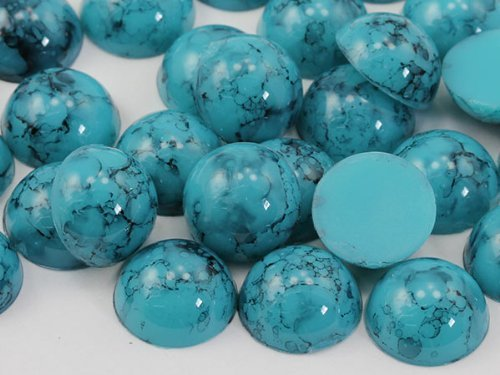 13mm Coral H615 Round Marble Cabochon High Quality Pro Grade - 30 Pieces