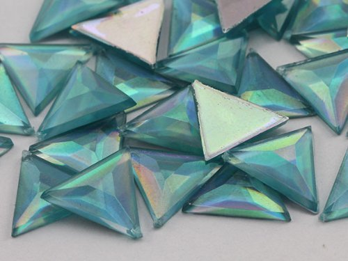 Primary image for 13mm Aqua Lite AB Flat Back Triangle Acrylic Jewels High Quality Pro Grade - ...