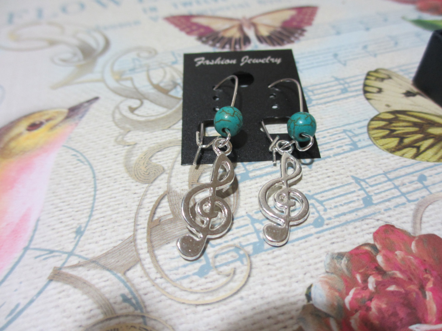 Handmade Music Guitar Pick Dangle Earrings with Treble Cleff - Various Colors