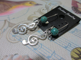 Handmade Music Guitar Pick Dangle Earrings with Treble Cleff - Various C... - $5.99