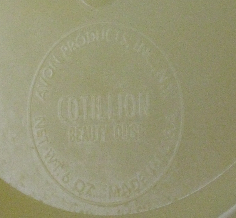 Vintage Avon Cotillion Beauty Dust Powder Bowl Yellow Clear Plastic Made In USA