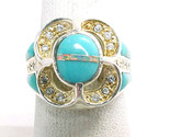TURQUOISE, OPAL AND CZ RING in STERLING Silver - Size 6 3/4 - Designer ROX