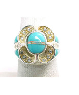 TURQUOISE, OPAL AND CZ RING in STERLING Silver - Size 6 3/4 - Designer ROX - €83,19 EUR