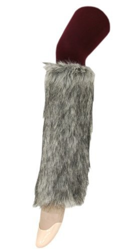 Furry Leg Warmers with Multi Tonal Highlights Boot Covers in Grey One Size