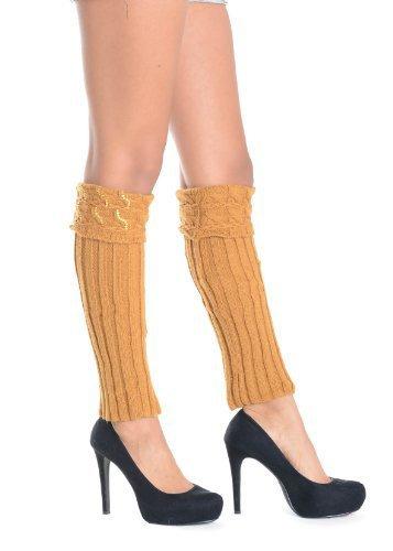 Symmetry with Rhinestones Leg Warmer - Free Size (free size, caramel) [Apparel]