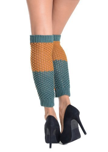 Primary image for Two-tone Knit Fashion Leg Warmer - Free Size (free size, blue) [Apparel]