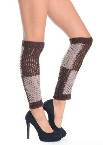 Two-tone Knit Fashion Leg Warmer - Free Size (free size, brown) [Apparel]