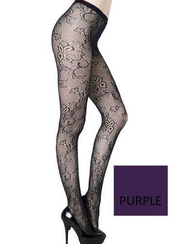 Cut Florals Crescent Stem Fishnet Pantyhose (Regular, Purple) [Apparel] - $13.85