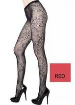 Cut Florals Crescent Stem Fishnet Pantyhose (Regular, Red) [Apparel] - $13.85