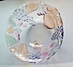 Art Glass Fruit Salad Serving Bowl With Embossed Fruit Leaves - $21.78
