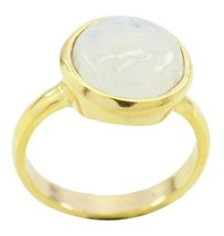 charming Rainbow Moonstone Gold Plated White Ring supply US gift - $10.29