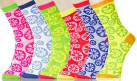 Lady's Lemon Drops Novelty Crew Socks - 6 Pairs - Assorted Colors [Apparel] - $13.85