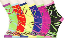 Lady's 80's Retro Novelty Crew Socks - 6 Pairs Assorted Colors Size 9-11 - $13.85