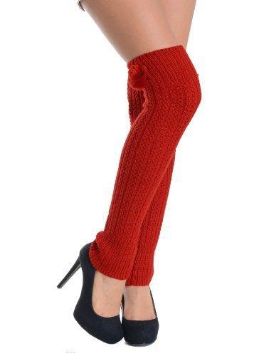 Yelete Pom Poms and Raised Pattern Fashion Designed Leg Warmer (free size, red)