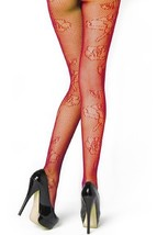 Stella Elyse Rose Outline Fishnet Pantyhose (Queen, Red) [Apparel] - $13.85