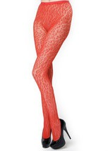 Stella Elyse Leopard Spotted Fishnet Pantyhose Queen Plus Size (Red) [Apparel] - $11.87