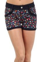 Women Rose Blooms with Rhinestonestone Pocket Embellishments Jegging Shorts (... - $15.83