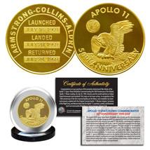 """Apollo 11 50th Anniv Commemorative NASA Space Medallion 1.25"""" Coin 24K G... - $9.46"""