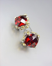 Designer PETITE Silver Gold BALINESE Filigree Red Garnet CZ Crystals Ear... - £15.45 GBP