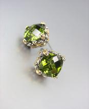 Designer PETITE Silver Gold BALINESE Filigree Olive Green CZ Crystals Ea... - £15.45 GBP
