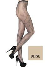 Stella Elyse Floral Stitching Fishnet Pantyhose Queen Plus Size (Beige) - $13.85