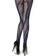 Chevron Cutouts and Floral Fishnet Pantyhose- Navy One Size [Apparel] - $13.85
