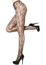 Floral Butterfly Fishnet Pantyhose One Size (Queen, Coffee) [Apparel] - $13.85