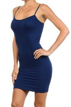 Women Solid Color Seamless Cami Slip Dress with Spaghetti Straps (size 4-10, ... - $8.90