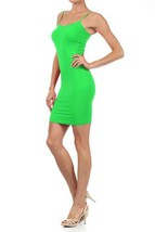 Women Solid Color Seamless Cami Dress with Spaghetti Straps (one size, green) - $6.92